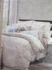 ENVOGUE Washed Linen Cotton Vintage Cream Charcoal Leaf Floral Duvet Set - King