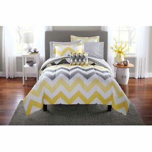 Mainstays Yellow Grey Chevron Bed in a Bag 6-Piece Bedding Comforter Set, Twin