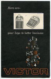 Vintage Operating Manual Brochure: VICTOR Adding/Subtracting Machine