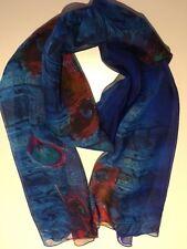 Silk Scarf 100% Pure Mulberry Silk | Vivid Blue & Crimson 🇦🇺 Crafted 64x178cm