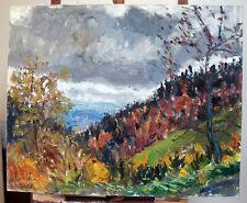 Georges Rocher 1927 1984 grande huile sur toile paysage d'Auvergne