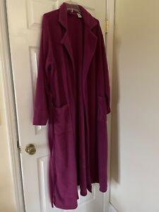 LL Bean Long Robe Plus Size 2X Maroon front tie Bathrobe