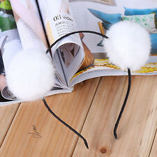 Sweet Warm Pom Fur Ball Furry Ears Womens Headband Hair band Head Accessory POP