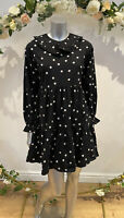 Influence Smock Dress Size 8 10 12 Black Cotton Spot Print Peter Pan Collar GL26