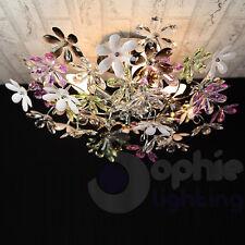 Lampadario moderno acciaio cromato plafoniera soffitto multicolor salone bagno