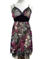 LUCY COLLECTION Dress Floral Purple Cream Black Floaty Party Strappy Size 12