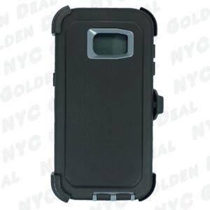 For Samsung Galaxy S7 Edge Defender Case Belt Clip fits Otterbox  Black Gray