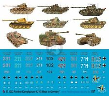 Peddinghaus 1/87 (HO) Panther Tank WWII Markings 1943-1945 No.1 (9 tanks) 1002