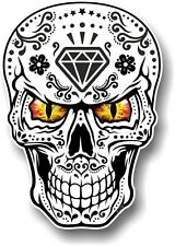 Realistic Mexican Sugar Skull Black & White & Evil Eyes car bike sticker Decal