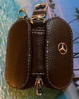Black Leather Mercedes Car Keyholder Ring Keychain Case Holder Zipped Bag purse