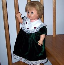 """Green Velvet Dress Chantilly Lace 18 Mos Infant Baby Shown on 24"""" Play Pal Doll"""