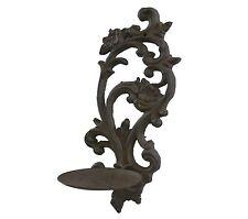 applique fronton bougeoir chandelier a bougie en fonte mural 33cm marron