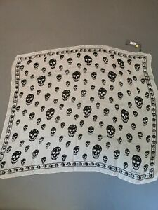 Alexander McQueen Black and White Chiffon Scarf - Brand New with Tags