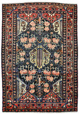 Rug wool hand knotted Bachtiar red and blue ean beige (140 X 202 cm)