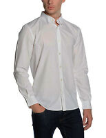 French Connection Long Sleeve Shirt Slim Fit White Dott Pyramid Cotton Shirt