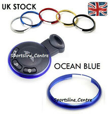 Occean Blue Key Ring Metal Fob Trim Surround BMW Mini JCW ONE COOPER S Works ob