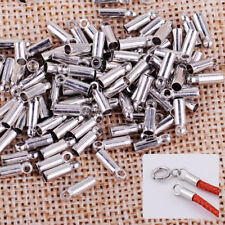 100xSilver Plated Barrel Bead Leather Cord ends caps Jewelry findings 8x2mm