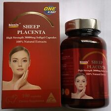 Biosis Sheep Placenta High Strength 38000mg x 100 Capsules 100% Natural Extracts