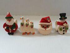 VTG Set of 4 handmade clay Christmas napkin rings Set #2 (A3)