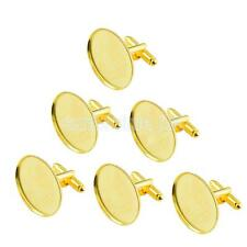 6pcs Antiqued Golden Oval Cuff Links Settings Blank Base Jewelry Findings