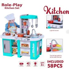 Kitchen Pretend Play Set Kids Toy Cooking Baker Playset Girls Food Gift Present