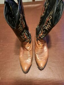 Dan Post Brown & Black Pointed Toe Damaged Cowboy Boots-Style 16807-Size 9.5 D