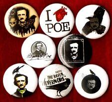 EDGAR ALLAN POE 8 NEW button pin badge quoth the raven nevermore poet baltimore