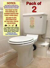 2x Warning Notices / Sticker Signs for Macerator Toilets.  Fits Saniflo.