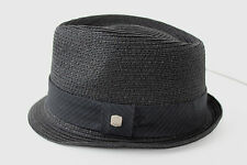 NWT COAL CONSIDERED THE LAYNE  Black Straw Trilby Pork Pie Mens Hat M