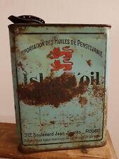 Ancien bidon d'huile island oil oil can kervoline yacco mobiloil