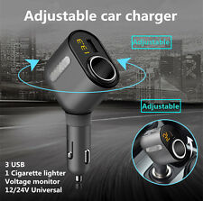 Car Cigarette Lighter Socket Adapter Charger DC 12V With 3 USB Port For iPhone