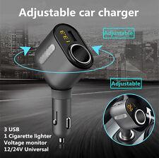 Car Cigarette Lighter Socket Adapter Charger DC 12V With 3 USB Port For iPhone