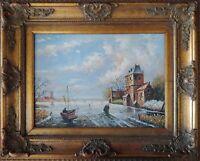 Original Ölgemälde Windmühle Holland Niederlande Gemälde Antik-Stil 60x50cm