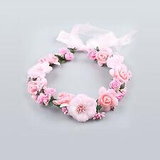 Beach Party Crown Bride Wedding Headband Boho Floral Headdress Flower Hairband Pink
