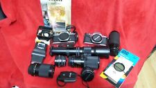 lot 2 Pentax K1000 camera body 6 lenses filters flash accessories