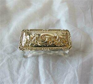 1908 Antique Cut Crystal Glass Ring Box Silver lid Birmingham