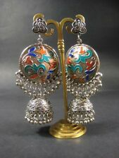 E3255 Bollywood Jhumka Oxidized Gypsy Bridal drop Chandelier bells Stud Earrings