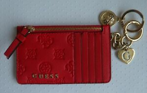 GUESS ~ RED ~ PURSE, CREDIT CARD HOLDER, KEYRING.  Coin Purse.