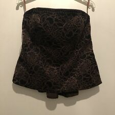 UK 12 COAST BROWN FLORAL STRAPLESS TOP TOWIE/PARTY/FESTIVAL/IBIZA/SUMMER/AUTUMN