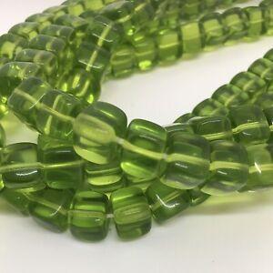 Czech Cube Glass Beads 8x11mm. Peridot. 25 Beads/pack.