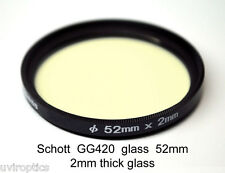 Schott GG420 52mm x 2mm Visual & Infrared Longpass Filter,  UV Block 420nm