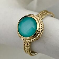 SOLD OUT! ANNA BECK 18 K GOLD PLATED STERLING SILVER TURQUOISE RING SIZE 8