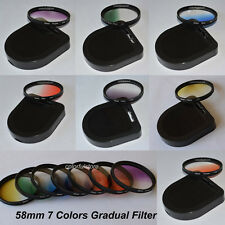 58 58mm 7 Graduated Gradual Red Purple Green Orange Yellow Blue Gray Lens Filter