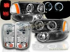 2000-2006 YUKON TWIN HALO PROJECTOR HEADLIGHTS / LED CHROME TAIL LIGHTS/BUMPER