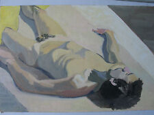 UNIDENTIFIED LARGE ORIGINAL EROTIC NUDE OLD PAINTING OIL ON BOARD