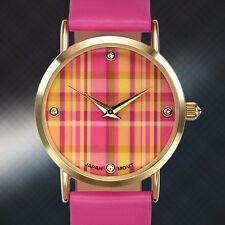 Rousseau Ladies Watch, Pink Plaid, Warranty, Swarvorski Crystals