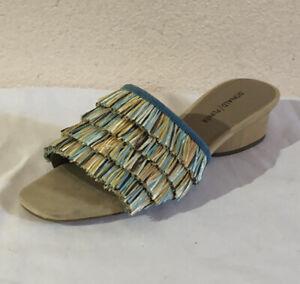 DONALD PLINER womens REIZE-2 Raffia Slides Azul Multicolor Sz7.5 $178