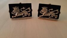 Lion With Crown Cufflinks signed Swank Vintage Black Lucite Silver Tone Mythical