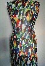 """SPLASH Scarabocchio Abito in crepe stampato Tessuto Materiale 60"""" larghezza multicolore"""