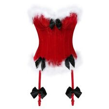 Alacki Christmas Overbust Corset with Garter Belt Waist Trainer Cincher